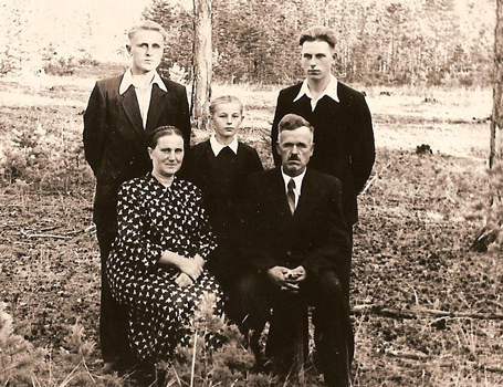 The Ruzgys family in Siberia, 1956. Rimgaudas, first from right