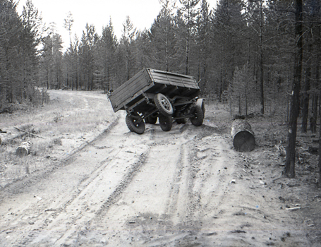 Damaged lorry in a Siberian logging area