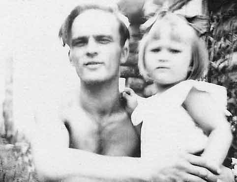 Sandra and her father, Aivars, 1955
