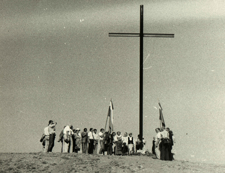 Erection of the cross in memory of the victims of </br> the 1954 Kengir camp uprising in Kazakhstan, 1990