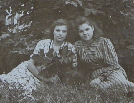 Anna and a student friend in Novosibirsk, circa 1954