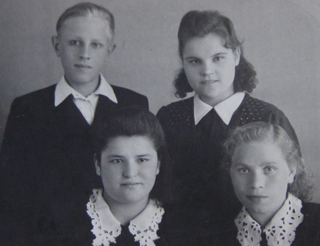 Anna (top right) with three students in Novosibirsk, circa 1954