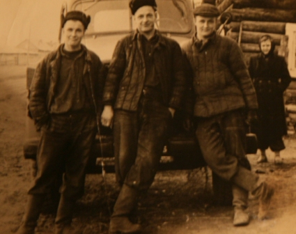 Anton Kaunas and his brothers in front of his lorry
