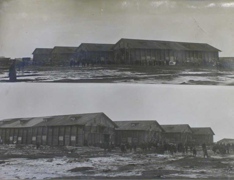 Wheat stores converted to deportee huts, Kotlas town, winter 1930