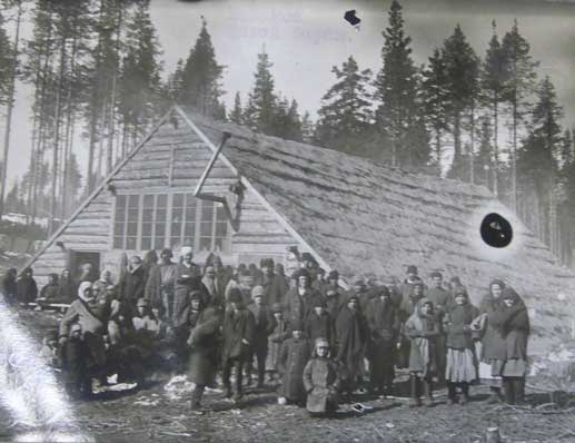 Temporary huts for deportee families, Sheleksa, Plesetsk district, 1930
