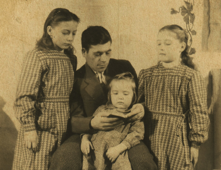 Irina Tarnavska (left) with her father and sisters in Siberia