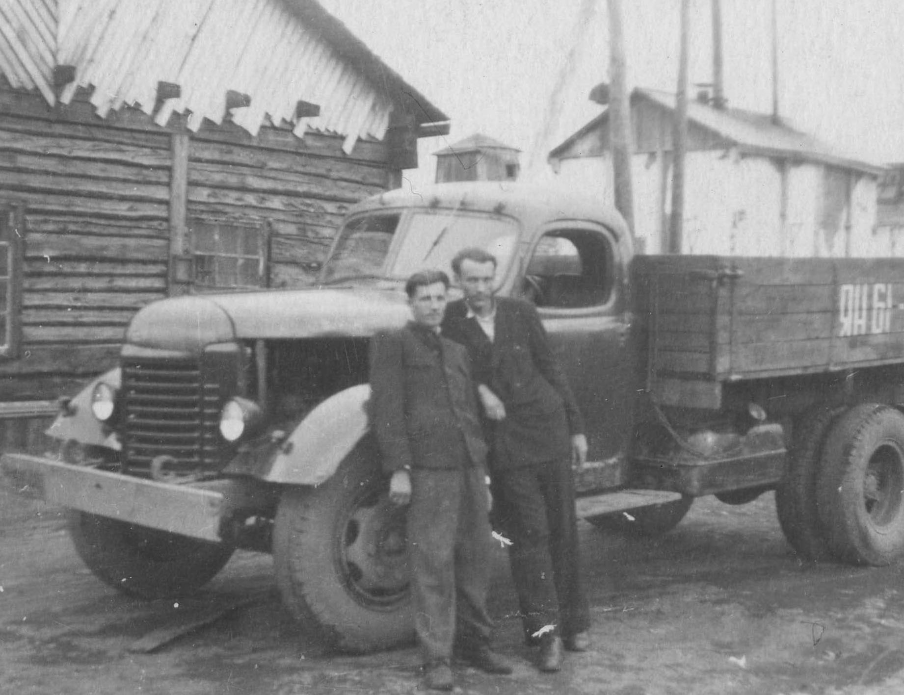 Bronius Zlatkus in front of a lorry, early 1950s