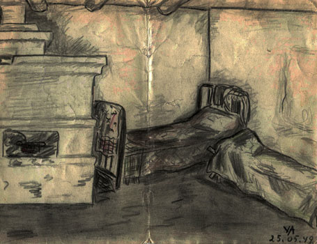 Drawing of the interior of a house in Yuzhno-Podolsk, by Valli Arrak 25 May 1949