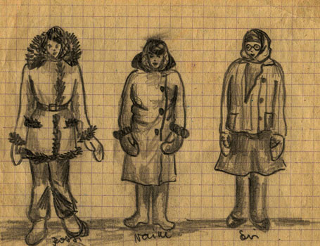 "Drawing of ""Siberian costumes"" (friends of Valli), by Valli Arrak <br/> 23 November 1952"