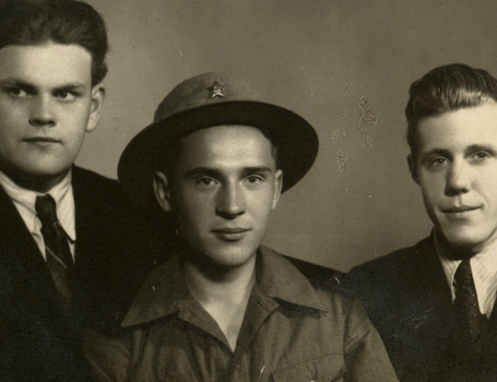 Orest (centre), with friends in Lviv in 1956