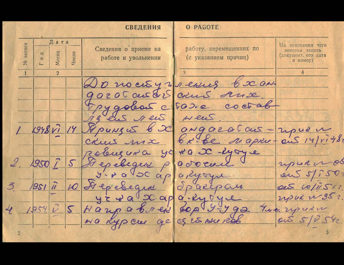 Employment record book, showing that he started work at the age of 11 in 1948