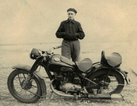 Rimgaudas Ruzgys and his motorbike, 1955