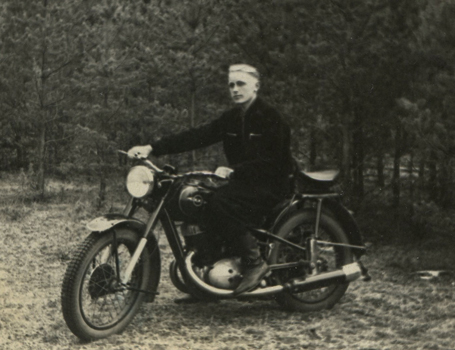 Rimgaudas Ruzgys riding his new motorbike in 1956