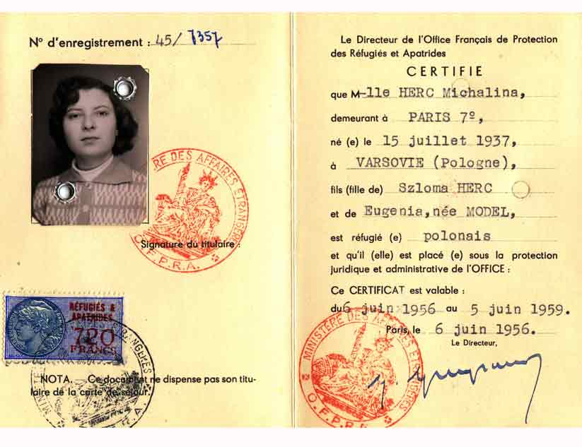 Refugee certificate issued to Micheline Herc by OFPRA (back)
