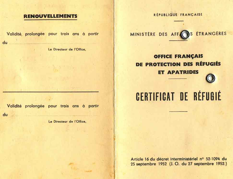 Refugee certificate issued to Micheline Herc by OFPRA (front)
