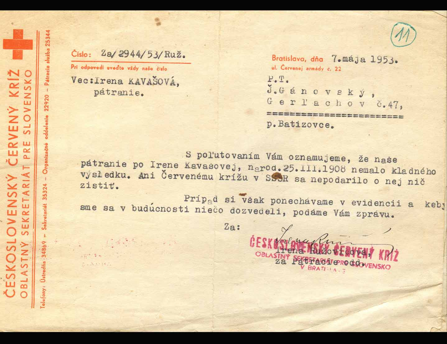 Correspondence from the Red Cross (7 May 1953)   saying that Irena had not been found